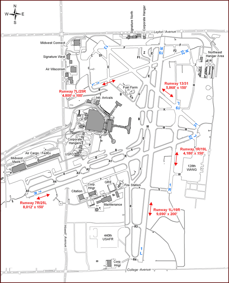 Mitchell Airport Map Airfield Map :: Mitchell Airport