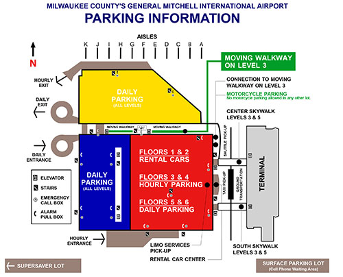 Milwaukee Airport Map Parking :: Mitchell Airport Milwaukee Airport Map