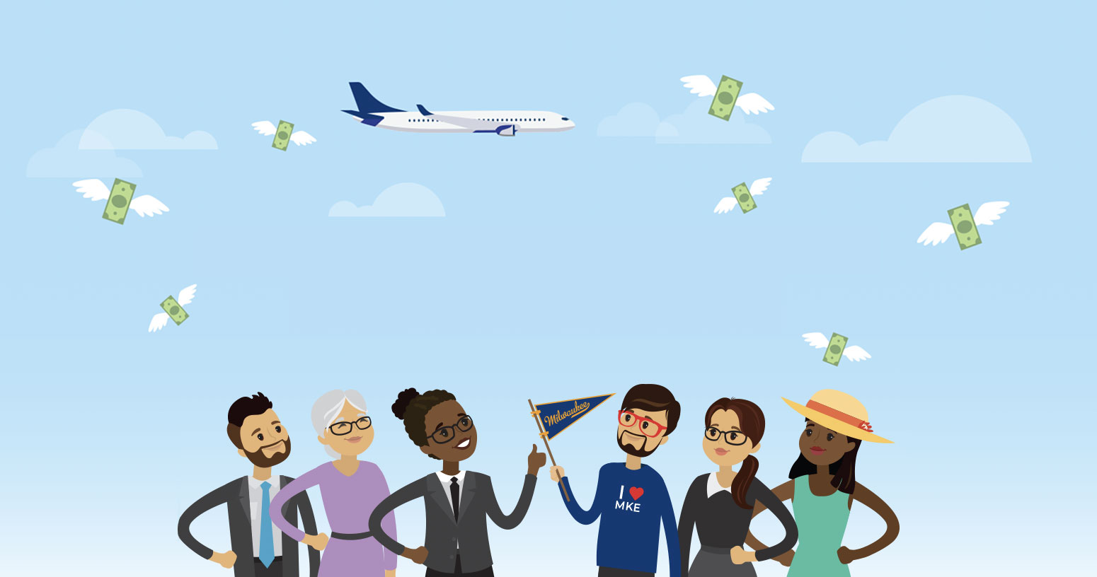 Illustration of airplane and people